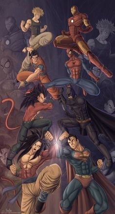 Dragonball vs Superheroes - I'm pretty sure only Superman stands a chance. Note, apparently Goku is now a romance cover model.