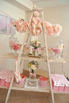 Ballerina themed birthday party via Kara's Party Ideas KarasPartyIdeas.com #ballerinaparty #balletparty #pinkballerina Cake, decor, supplies, desserts, banners, printables, and more! (22)