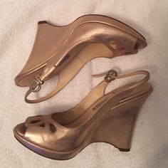Luciano Padovan sling back open toe wedge Luciano Padovan sling back open toe wedge size 38- only worn once- excellent condition- metallic pink color - perfect for spring/summer will accept best offer !! Luciano padovan Shoes Heels