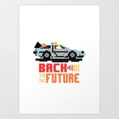 Back to the future: Delorean Art Print by Alba Saldaña - $16.00