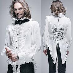 Men White Chiffon Long Sleeve Victorian Gothic Wedding Dress Shirt SKU-11407111