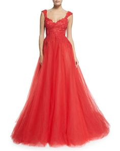 Sleeveless Lace & Tulle Ball Gown, Fire by Monique Lhuillier at Neiman Marcus.