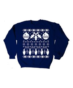 Look at this Navy Ornaments Sweater - Adult on #zulily today!