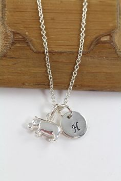 Personalized Hippo Necklace Hippo Charm 925 Sterling Silver