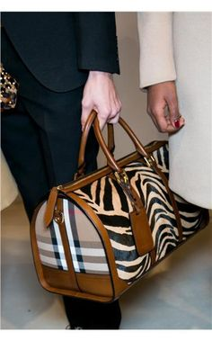 Burberry handbag. Love the zebra stripes ❤️