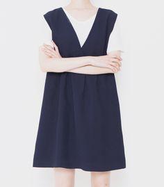 blue navy plain v-neck loose dress
