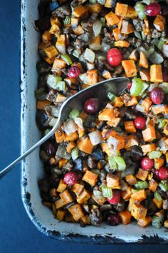 Paleo Sweet Potato Cranberry Stuffing | Fed+Fit-2.  This sounds really delicious and not very hard to do.