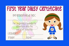 Girl Scout Daisy Certificate FREE PRINTABLE!!