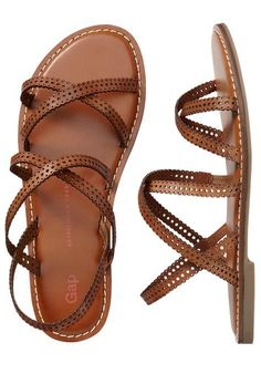 Stylish Brown Flat Sandals - I'm wearing these right now. TIP TO ANYONE INTERESTED IN BUYING THEM: They SUCK if you don't cut the back strap off. Seriously, I  thought about throwing them away until I did my DIY removal and I haven't taken them off since.