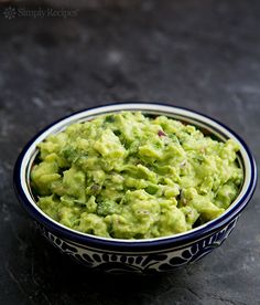 Classic guacamole recipe, made with ripe avocados, Serrano chiles, cilantro and lime. Garnish with red radishes or jicama. Serve with tortilla chips. ~ SimplyRecipes.com
