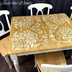 Darling Damask Stenciled Dining Room Table Looking for stencil table top ideas? See how to stencil a tabletop with this stenciled dining room table makeover. Painting a stencil on a kitchen table never looked so good.