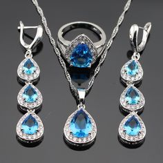 WPAITKYS Light Blue White CZ Silver Color Jewelry Sets For Women Necklace Pendant Rings Long Earrings  Free Gift Box