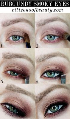 Burgundy smoky eyes makeup tutorial for fall by makeup artist and beauty blogger, Kendra Stanton.