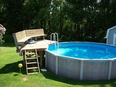 Intex Pool Decks | Small pool deck area w/ seating. To be code, would have to have ...