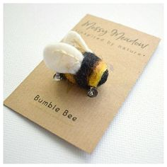 Hand Embroidery, Needle Felting & Illustration by TheMossyMeadow Needle Felted Animals, Needle Felting, Wool Felting, Bee Gifts, Bee Brooch, Bee Art, Bee Design, Do It Yourself Crafts, Save The Bees