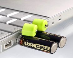 Rechargeable Batteries Charged Via USB / USBCELL AA Rechargeable batteries – work just like normal rechargeable batteries, but simply pop off the lid to recharge by any powered USB Port. http://thegadgetflow.com/portfolio/rechargeable-batteries-charged-via-usb/