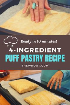 10 Minute Puff Puff Pastry - 4 Ingredients | The WHOot Baking And Pastry, Bread Baking, Festive Bread, Just Desserts, Dessert Recipes, Puff Pastry Recipes, Dough Recipe, 4 Ingredients, The Best