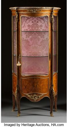 Furniture : French, A LOUIS XV-STYLE VENEERED GILT BRONZE MOUNTED VITRINE CABINET WITHMARBLE TOP. Circa 1900. 60-1/4 x 29 x 16-1/2 inches (153....