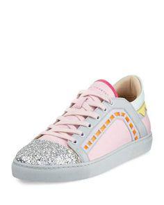 SOPHIA WEBSTER RIKO GLITTER CAP-TOE SNEAKER, PINK. #sophiawebster #shoes #