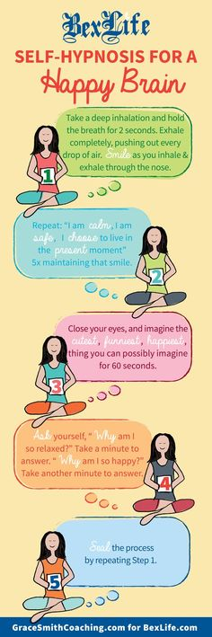 Take a step back from the daily grind, anytime. Learn these simple steps for self-hypnosis to calm your mind, quiet your body, and recharge. The first step is to practice controlled breathing, in and out with deep breaths through the nose and by holding each breath a few seconds before breathing out completely. Keep a smile through this process to connect your outward appearance to the inner peace you gain from your efforts.