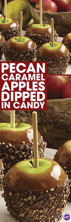 Easy DIY Pecan Caramel Apples Dipped in Candy - Give teachers an extra-special apple this fall! Make the apples by dipping them in melted Wilton Light Cocoa Candy Melts candy and Caramel Apple Dip candy. Immediately sprinkle apples with pecan.