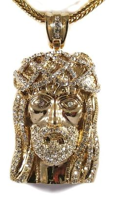 "Mens Hip Hop Iced Out 14K Gold Finish CZ Jesus Piece Pendant & 36"" Franco Chain…"