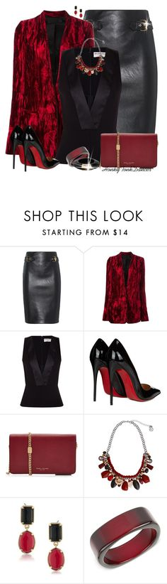 """Red and Black"" by honkytonkdancer ❤ liked on Polyvore featuring Moschino, Haider Ackermann, Balenciaga, Christian Louboutin, Marc Jacobs, Erica Lyons, 1st & Gorgeous by Carolee, INC International Concepts and Jimmy Choo"