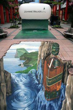 3d STREET art, johny walker