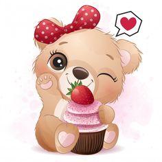 Cupcake Illustration, Giraffe Illustration, Balloon Illustration, Watercolor Illustration, Watercolor Lion, Watercolor Animals, Baby Animal Drawings, Cute Drawings, Strawberry Cupcakes