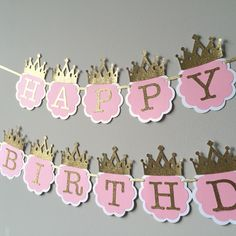 Pink and Gold Happy 1st Birthday Banner. Princess birthday banner. Pink and gold crown banner. Matching HIGH Chair Banner by TinyEnchantments on Etsy https://www.etsy.com/listing/246044237/pink-and-gold-happy-1st-birthday-banner