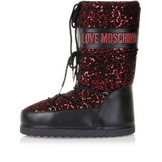 Love Moschino Women Snow/Rain Nylon And Leather Boots With Sequins Italy Made