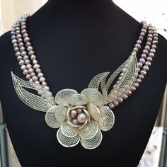 My best project... Handmade silver filigree necklace with pink pearls