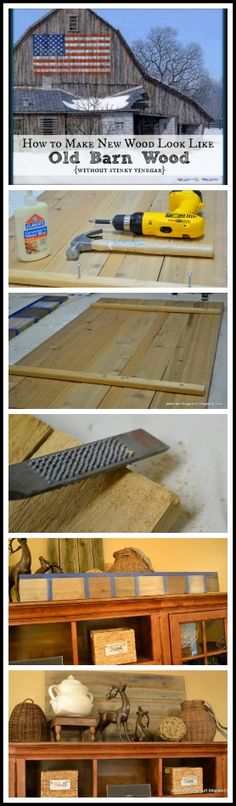 How to easily make brand new wood look like old barn wood.  Testimonials say this is the best formula for this process they've seen. || WorthingCourtBlog.com
