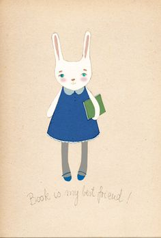 Book bunny Delux Edition Print of original drawing by IrenaSophia, $20.00