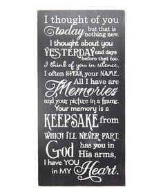 Black 'I Thought of You Today' Wall Sign