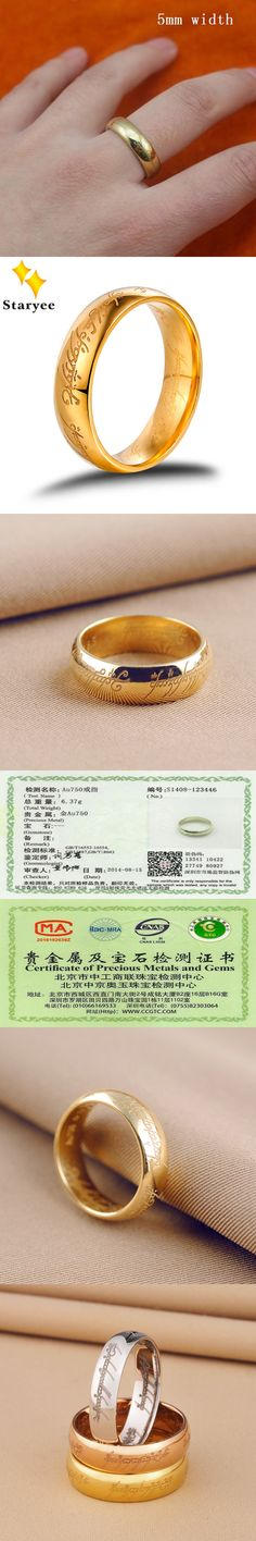 The Lord Of Rings Ring For Men Women The Precious Ring of Mordor Pure 18K Solid Yellow Gold Fine Jewelry Free Engraving