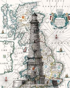 Lighthouse Print. Light house poster antique map by PrintLand