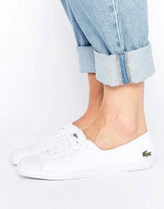 Buy it now. Lacoste Ziane Canvas Plimsoll Trainers - White. Trainers by Lacoste, Canvas upper, Rubber toe detail, Lace-up design, Embroidered logo, Textured tread, Wipe with a damp sponge, 100% Textile Upper. ABOUT LACOSTE Launching their first tennis shoe in 1985, Lacoste add their iconic crocodile emblem to a footwear collection of canvas plimsolls and slip on pumps. Lacoste's authentic sportswear roots fuse fashion with functionality as crisp whites and colour-pop finishes give a…