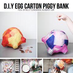 Egg Carton Piggy bank, featured in round-up of Egg Carton DIY on ScrapHacker.com