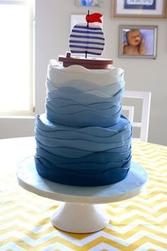ombre fondant cake, I wonder if you could do the same idea with frosting.