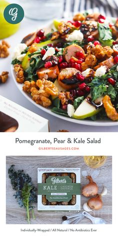 Pomegranate, Pear & Kale Salad an easy lunch or dinner! Pasta Salad Recipes, Healthy Salad Recipes, Whole Food Recipes, Easy Recipes, Easy Meals For One, Soup And Salad, Pomegranate, Healthy Eating, Recipes