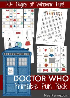 Your little Whovians will love this Doctor Who-inspired printable fun pack! Doctor Who Printable Fun Pages This pack includes: Bingo with 8 boards and matching pull tabs Word search with Whovian vocabulary ABC Doctor Who Style Simple Sudoku AND a regular Sudoku What's Different? Tic Tac Toe Trading Cards (to use for matching or as …