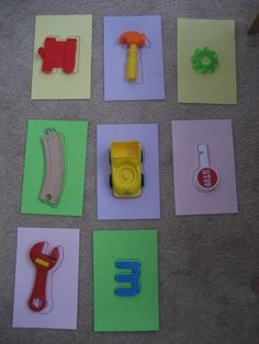 Simple toddler activity - Matching objects, could do this as a busy bag with smaller objects.