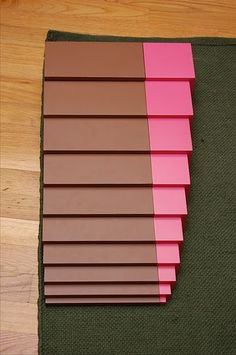 Montessori pink tower, brown stair extensions