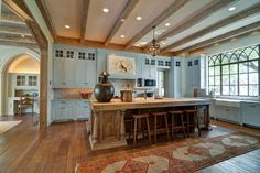 Kitchen with rustic ceiling beams and aqua cabinets -- J Wilson Fuqua & Assoc. House Design, Kitchen Dining, Mansard Roof, Rustic Ceiling Beams, Decor, Traditional Kitchen, Kitchen, Kitchen Dining Room, Farmhouse Kitchen