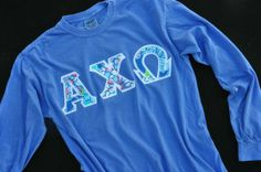 Alpha Chi Omega - Comfort Color Lettershirt long sleeve and with designer fabric for many sorority groups.