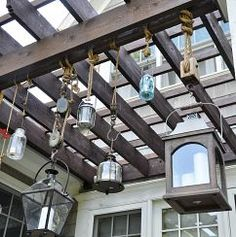 Lights that inspire!  Great way to display lanterns on a deck!