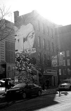 Icoinic building on St. Catherine Street, Destinations, Montreal Qc, Im In Love, Murals, Urban, Eyes, Building, Travel