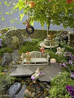 Garden:  Cool arch, doorway, fence.  sweet bench next to water, swing, and table  chairs  fountain, spring, lake, and well.  rocks and flowers and vines galore!