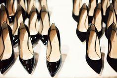black shiny wedding heels